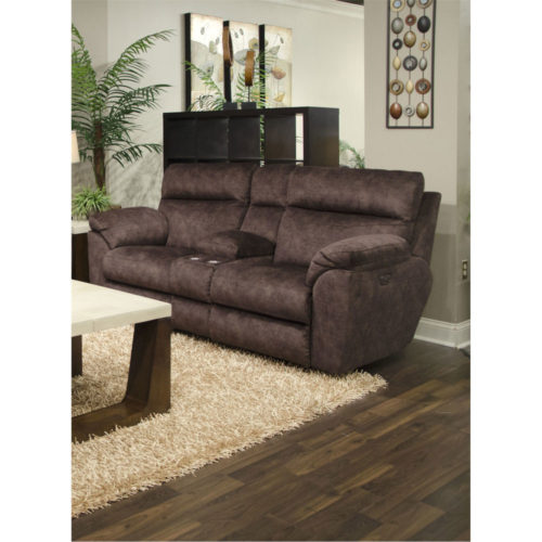 Catnapper Sedona Power Headrest Power Lay Flat Reclining Console Loveseat with Storage and Cupholders in Mocha