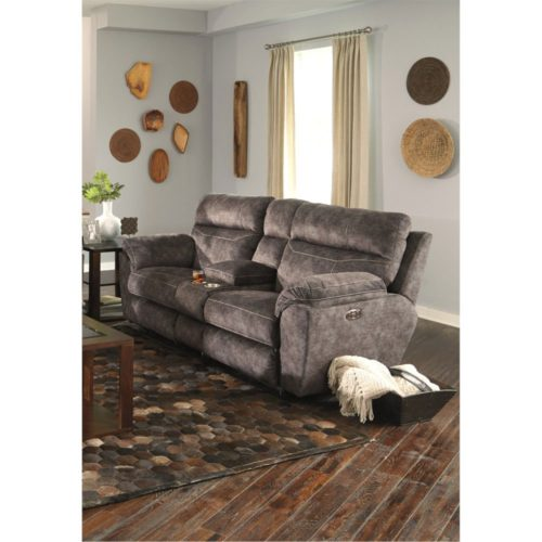 Catnapper Sedona Power Headrest with Lumbar Power Lay Flat Reclining Console Loveseat with Storage and Cupholders