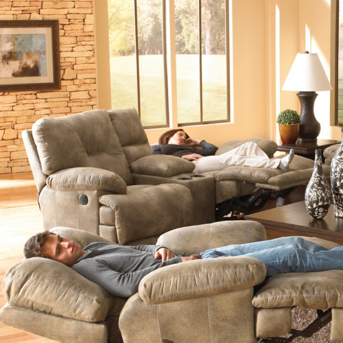 Catnapper Voyager Lay Flat Reclining Console Loveseat in Brandy with Power Option