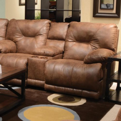 Catnapper Voyager Lay Flat Reclining Console Loveseat in Elk with Storage and Power Option
