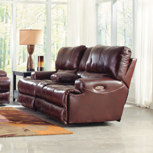 Catnapper Wembley Leather Lay Flat Reclining Console Loveseat in Walnut