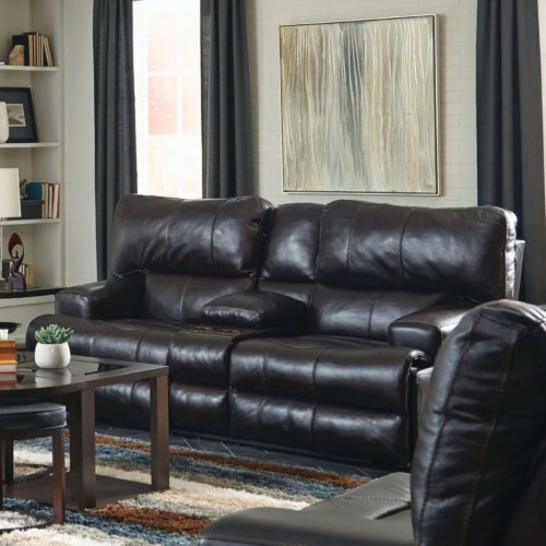 Catnapper Wembley Leather Power Lay Flat Reclining Console Loveseat with Power Headrest in Chocolate