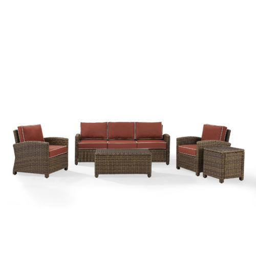 Crosley Bradenton 5 Piece Outdoor Wicker Sofa Conversation Set with Sangria Cushion in Weathered Brown