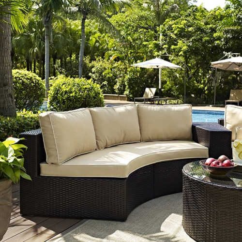 Crosley Catalina Outdoor Wicker Round Sectional Sofa with Sand Cushions