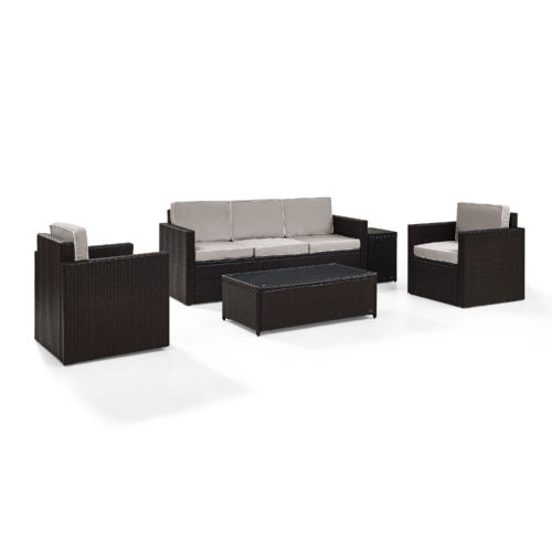 Crosley Palm Harbor 5 Piece Outdoor Wicker Sofa Conversation Set with Grey Cushion in Brown