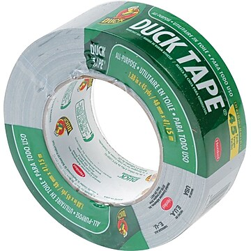 "Duck Duct Tape, 3"" Core, Gray, 1.88"" x 45 Yards, 1/Rl"