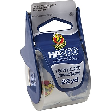 Duck HP260 Premium Packing Tape with Dispenser, 1.88 x 22.2 Yards, Clear (920352)
