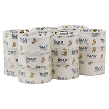 Duck Max Strength Packaging Tape, 55 yd Length, 18/Pack, Clear