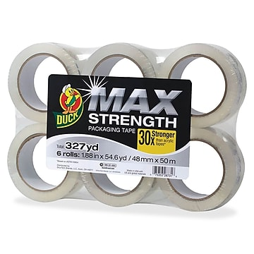 Duck Max Strength Packaging Tape, 55 yd Length, 6/Pack, Clear