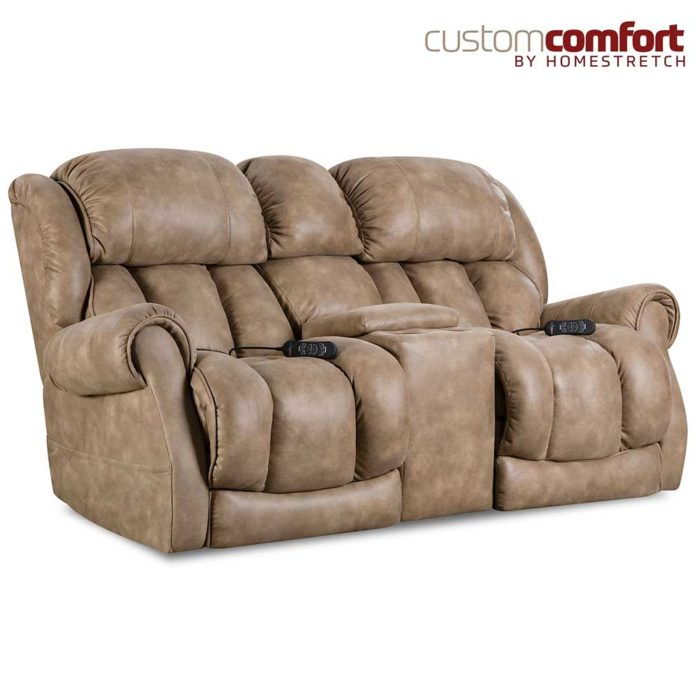 HomeStretch Atlantis Power Loveseat with Power Headrest and Power Lumbar Foot Extension in Nougat