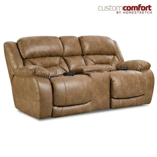 HomeStretch Enterprise Power Loveseat with Power Headrest and Power Lumbar Foot Extension in Saddle