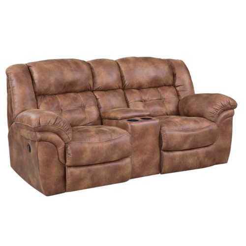 HomeStretch Frontier Power Console Loveseat in Almond