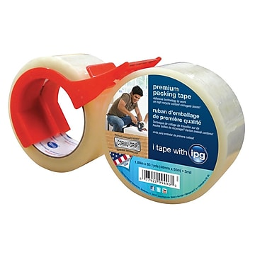 "Intertape Premium 1.88"" x 60 yds. Packing Tape W/Dispenser/Corrugrip, Clear, 6 Roll"