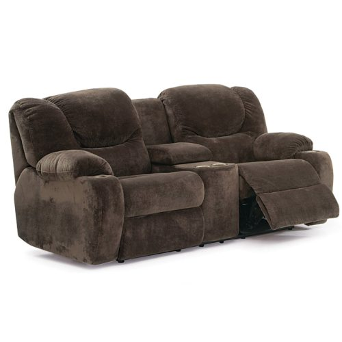 Palliser Fabric Dugan Reclining Loveseat with Console