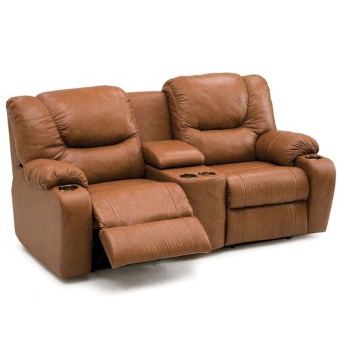 Palliser Leather Dugan Loveseat with Console