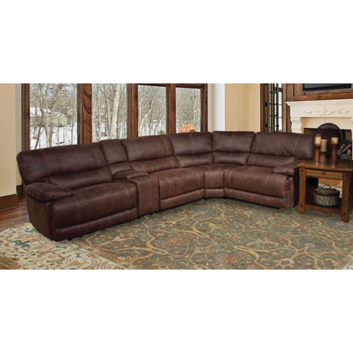 Parker Living Comfort Pegasus 5 Piece Power Sectional with Console in Dark Kahlua