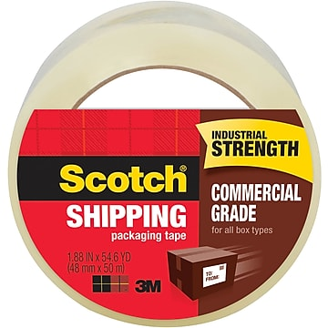 "Scotch Commercial-Grade Shipping Tape, 3""W Core, Clear, 1.88""W x 54.6 Yards (3750-CS36ST)"