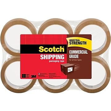 "Scotch Commercial Performance Packing Tape, Tan, 1.88""W x 54.6 Yards, 6 Rolls (3750T-6)"