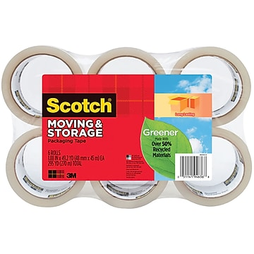 """Scotch Greener Moving and Storage Tape, Clear, 1.88""""W x 49.2 Yards, 6 Rolls (3650G-6)"""