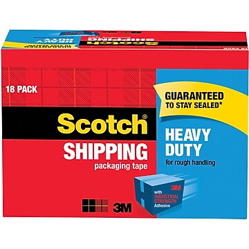 "Scotch Heavy-Duty Packing Tape, 1.88""W x 54.6 Yards, Clear, 18 Rolls (3850-18CP)"