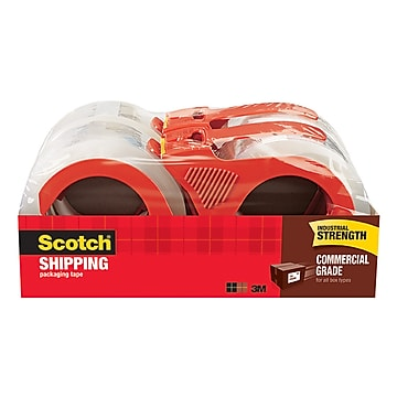 "Scotch Heavy Duty Shipping Packing Tape, 1.88""W x 54.6 Yards, Clear, 4 Rolls (3750-4RD)"