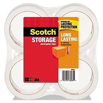 "Scotch Long Lasting Storage Packing Tape, Clear, 1.88""W x 54.6 Yards, 4 Rolls (3650-4) (3650-4)"