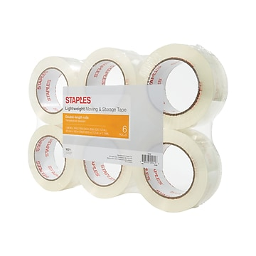 "Staples Lightweight Moving & Storage Packing Tape, 1.88"" x 109 Yds, Clear, 6/Rolls (ST-A22L-6LW)"