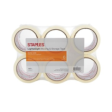"Staples Lightweight Moving & Storage Packing Tape, 2.83"" x 54.6 Yds, Clear, 6/Rolls"