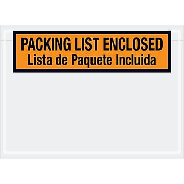 "Tape Logic Bilingual Packing List Envelopes, 7 1/2"" x 5 1/2"", Orange, 1000/Case (PL500)"
