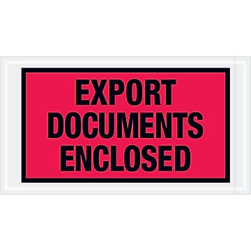 "Tape Logic ""Export Documents Enclosed"" Envelopes, 5 1/2"" x 10"", Red, 1000/Case (PL440)"