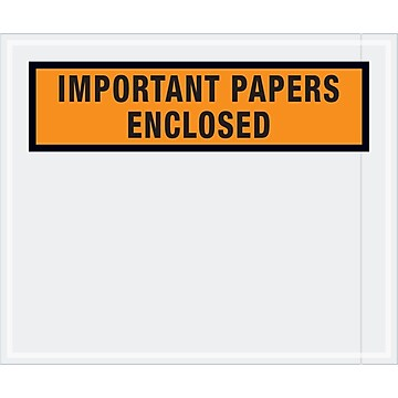 "Tape Logic ""Important Papers Enclosed"" Envelopes, 10"" x 12"", Orange, 500/Case (PL449)"