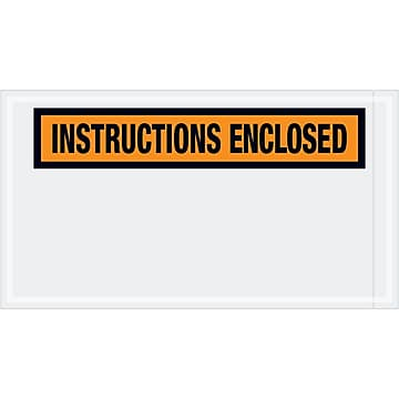 "Tape Logic ""Instructions Enclosed"" Envelopes, 5 1/2"" x 10"", Orange, 1000/Case (PL450)"