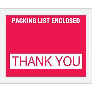 "Tape Logic ""Packing List Enclosed - Thank You"" Envelopes, 4 1/2"" x 5 1/2"", Red, 1000/Case (PL480)"