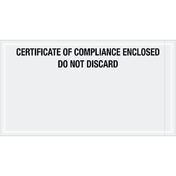 "Tape Logic Transportation Envelopes, ""Certificate of Compliance Enclosed"", 6"" x 11"", Printed Clear,1000/Case (PL511)"