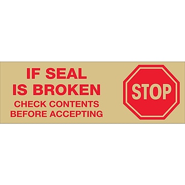 "Tape Logic™ 2"" Pre Printed ""Stop If Seal Is Broken"" Carton Sealing Tape, Red On Tan, 18/Pack"