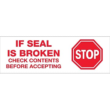 "Tape Logic™ 2"" Pre Printed ""Stop If Seal Is Broken"" Carton Sealing Tape, Red On White, 18/Pack"