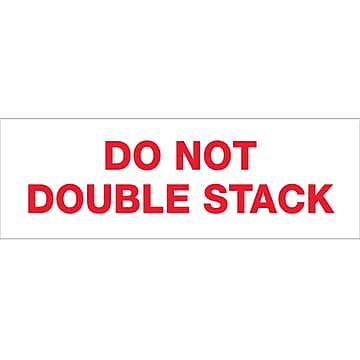 """Tape Logic™ 2"""" x 110 yds. Pre Printed """"Do Not Double Stack"""" Carton Sealing Tape, 18/Pack"""