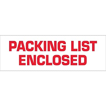 "Tape Logic™ 2"" x 110 yds. Pre Printed ""Packing List Enclosed"" Carton Sealing Tape, 18/Pack"