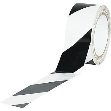 "Tape Logic™ 2"" x 36 yds. Striped Vinyl Safety Tape, Black/White, 3/Pack"