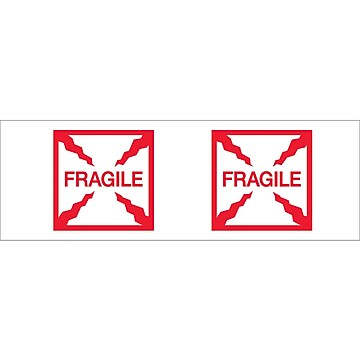 "Tape Logic™ 2"" x 55 yds. Pre Printed ""Fragile (Box)"" Carton Sealing Tape, 18/Pack"