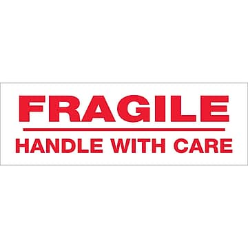 """Tape Logic™ 3"""" x 110 yds. Pre Printed """"Fragile Handle With Care"""" Carton Sealing Tape, 24/Case"""