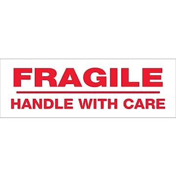 "Tape Logic™ 3"" x 110 yds. Pre Printed ""Fragile Handle With Care"" Carton Sealing Tape, 6/Pack"