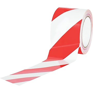 "Tape Logic™ 3"" x 36 yds. Striped Vinyl Safety Tape, Red/White, 3/Pack"
