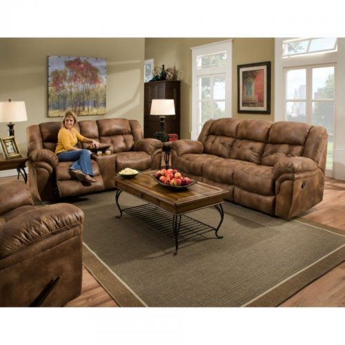 HomeStretch Frontier 3 Piece Living Room Set in Almond