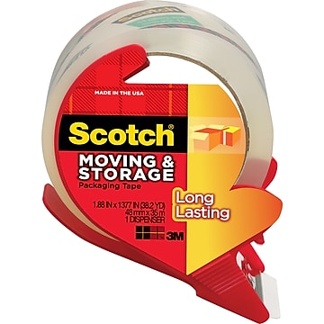 "Scotch Long-Lasting Moving & Storage Packing Tape with Refillable Dispenser, 1.88"" x 38.2 Yds, Clear, 1/Roll (3651C/3650S-RD)"