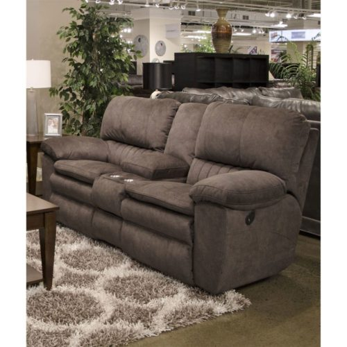 Catnapper Reyes Lay Flat Reclining Console Loveseat with Storage and Cup holders in Chocolate