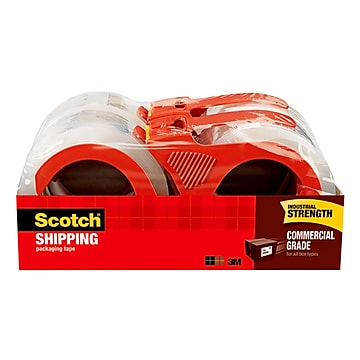 "Scotch Commercial Grade Shipping Packing Tape, 1.88"" x 54.6 yds., Clear, 4 Rolls (3750-4RD)"