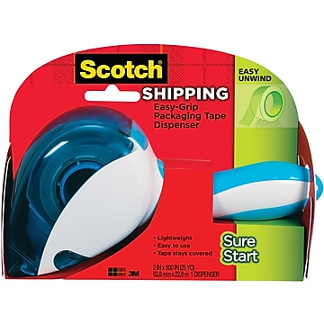 "Scotch Sure Start Shipping Packing Tape with Easy Grip Dispenser, 2"" x 25 yds., Clear (DP-1000)"