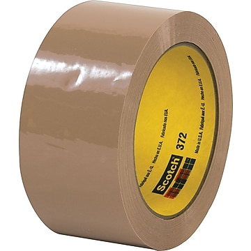 """3M #372 Hot Melt Packing Tape, 2""""x55 yds., Tan, 36/Case"""