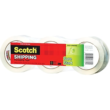"""Scotch Sure Start Shipping Packing Tape, 1.88"""" x 43.7 yds., Clear, 3 Rolls/Pack (3450-40-3)"""
